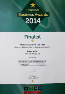 Blue Whale Spa | Manufacturer Of The Year Award