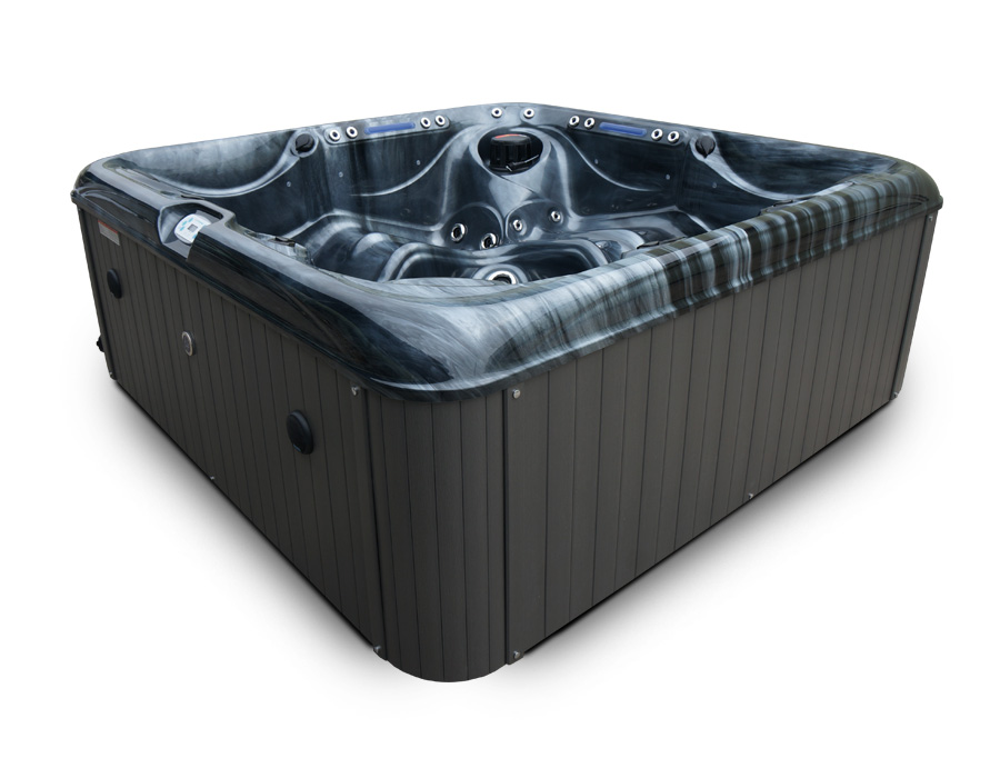 Blue Whale Spa | South Beach 5 Person New Arrival Hot Tub Black Acrylic Shell and Maintenance Free Grey Skirt
