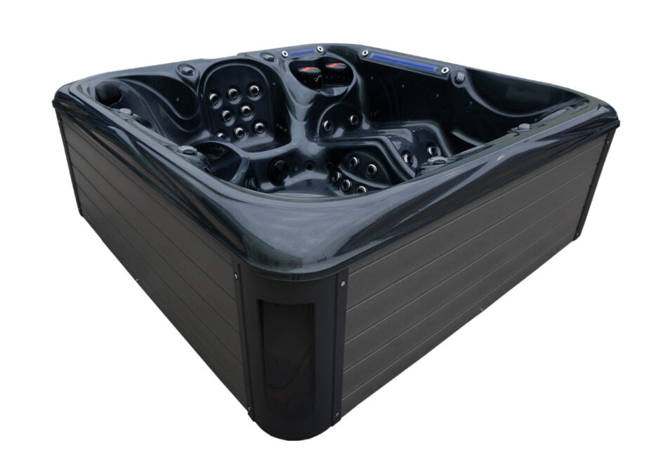 Blue Whale Spa | Union Bay 6 Person High Quality Hot Tub Maintenance Free Skirt In Grey Colour with LED Lights