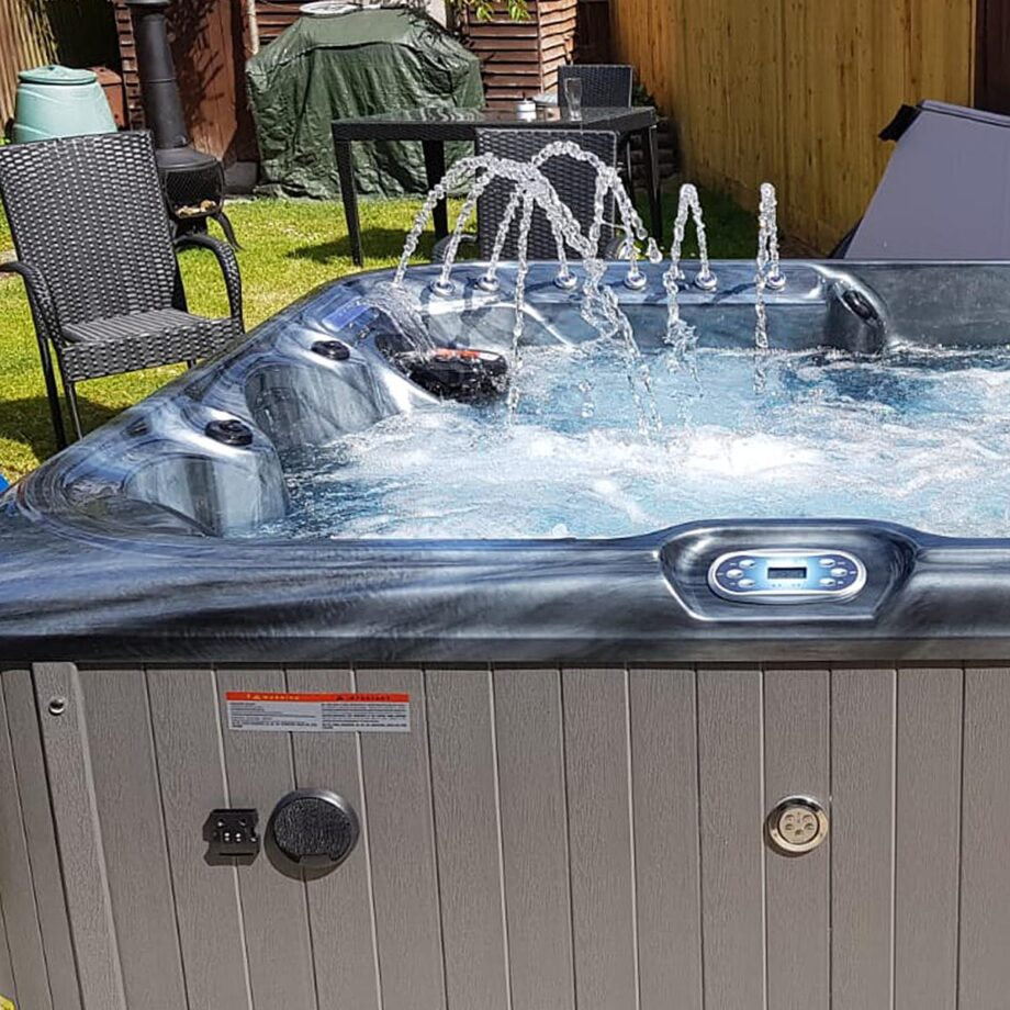 Cedar Grove Hot Tub Installed and Running Close Up Image
