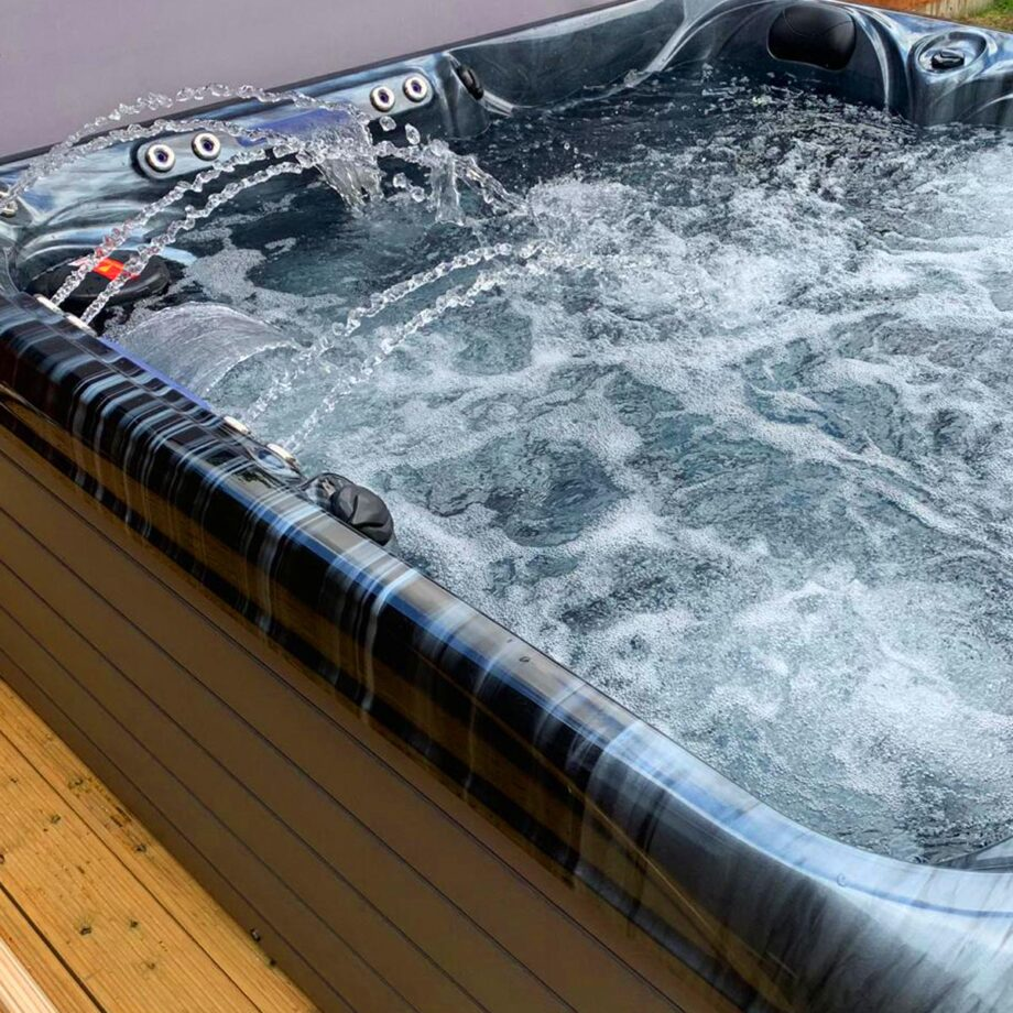 South Beach Hot Tub Installed and Running Close Up Image