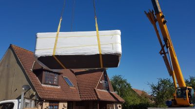 Swim Spa Positioned by Crane