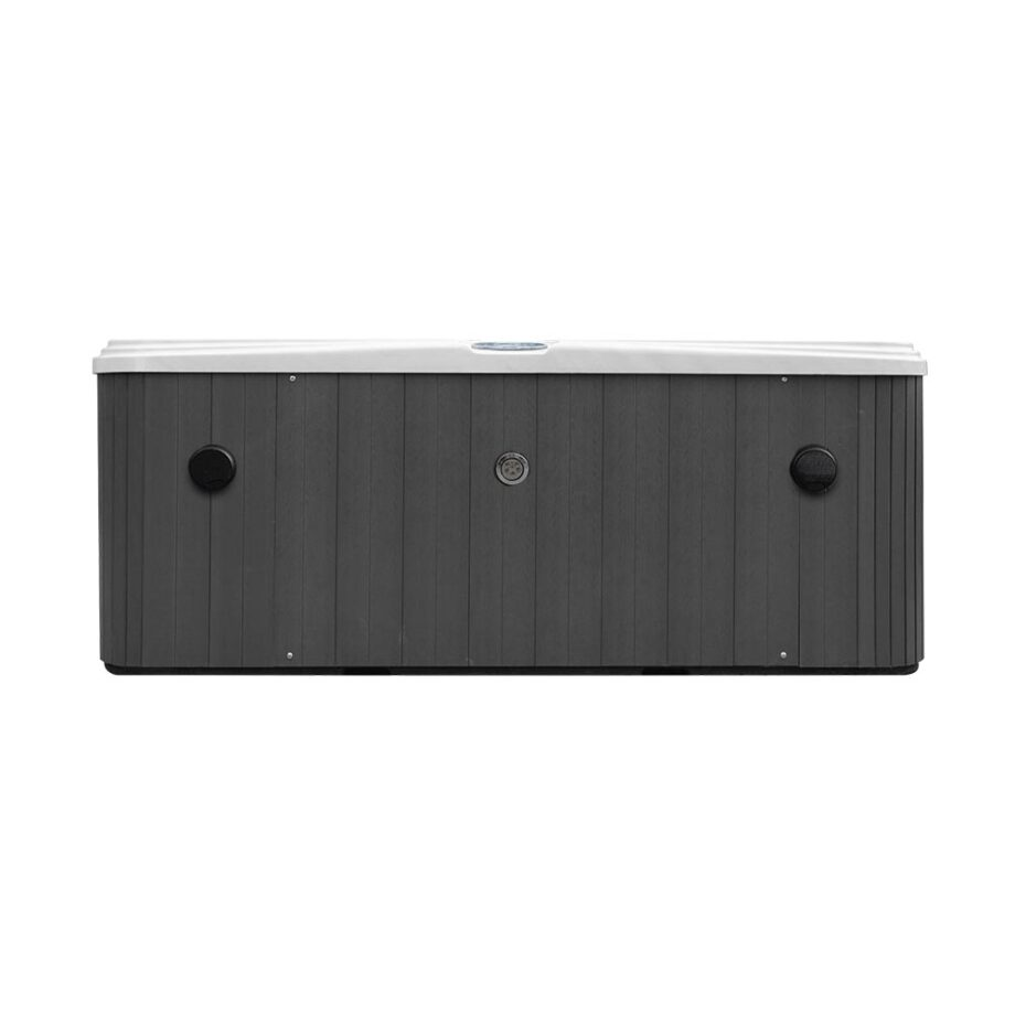 Sunset Bay II Hot Tub Skirt View With Bluetooth Speakers and Control Panel